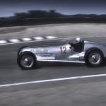 Herman Lang at the wheel of 1937 W125 Mercedes GP car at Monterey Historic races Laguna Seca california USA 1986