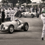 Silver Arrows demonstration run at Goodwood festival of Speed. cars leave holding area Jochan Mass